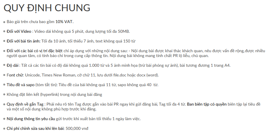 Bảng giá quảng cáo trên báo VTV.vn mới nhất