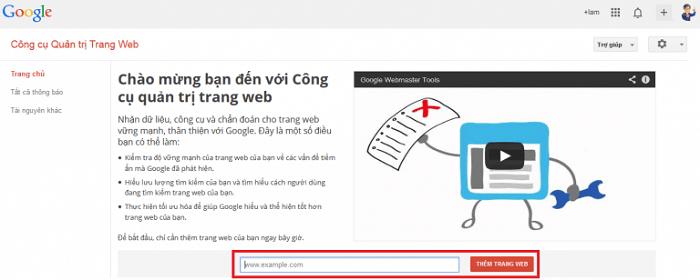 Trang chủ để thực hiện đăng nhập sử dụng google webmaster tool