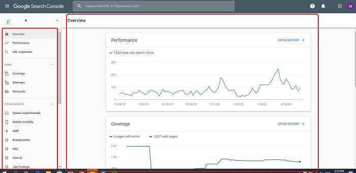 Màn hình chính của google webmaster tool