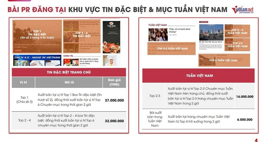 Bảng báo giá Book bài PR trên Vietnamnet.vn hấp dẫn nhất 2021
